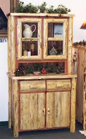 Kitchen Furniture Hutch Amish Rustic Cedar Log Hutch