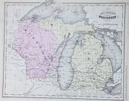 Map Of Michigan by Map Of Michigan And Wisconsin 1865
