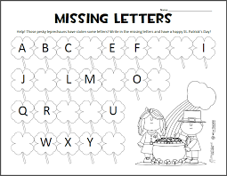 missing letters u2013 st patrick u0027s day abc worksheet squarehead