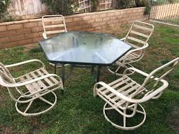 Hexagon Patio Table Hexagon Patio Table And 4 Chairs Used But In Condition
