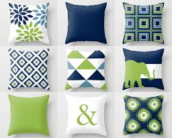 blue and green home decor throw pillow covers navy blue green white stone couch cushion