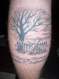 memorial tree tattoo on leg