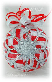 candy christmas ornament red and silver ornament