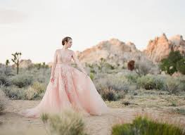 a dreamy pink wedding dress captured in joshua tree green