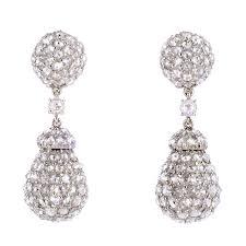 1970s earrings a la vieille russie 1970s american diamond pendant earrings