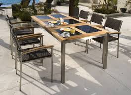 6 Seat Patio Table And Chairs 6 Seater Teak Stainless Steel Glass Outdoor Dining Set The Provence