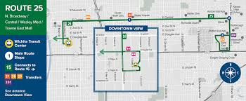 Towne East Mall Map Routes 25 N Broadway E Central Wesley Hospital Towne East Mall