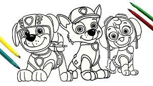 paw patrol rocky skye u0026 zuma coloring page for kids youtube