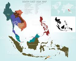 Eastern Asia Map by Map Of South East Asia Split Color Country Stock Vector Art