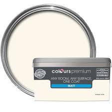 B Q Paint Colour Chart Bedrooms Colours Premium Antique White Matt Emulsion Paint 2 5l