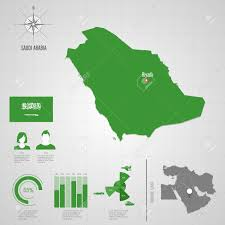 Asia World Map by Republic Of Saudi Arabia Flag Asia World Map Travel Vector Royalty