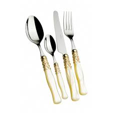 Coloured Kitchen Knives by Colour Cutlery Flatware Set Selene Gold Plated Ring
