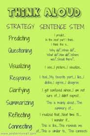 think aloud sentence and question stems ela reading sentence