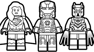 lego iron man vs lego supergirl vs lego black panther coloring