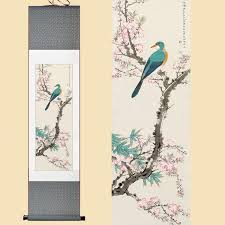 30x120cm chinese silk watercolor flower bird ink art bamboo peach