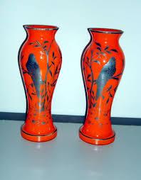 Vintage Orange Glass Vase Vintage Silver Overlay Czechoslovakian Glass Vases From