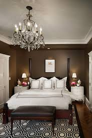 dark brown wall themes with white doors in small modern bedroom