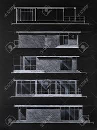 colored architectural blueprint of modern house facades drawn