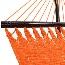 Sunset Orange by Large Sunset Orange Soft Spun Polyester Caribbean Hammock
