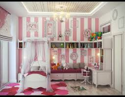 bedroom design striped walls with exciting canopy bed and girls