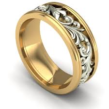 the gents wedding band gents wide two tone scroll wedding band in 14k yellow and white