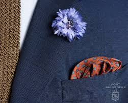 blue boutonniere cornflower boutonniere buttonhole flower in blue silk by fort