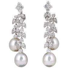 pearl and diamond drop earrings fabulous pearl diamond gold dangle drop earrings for sale at 1stdibs