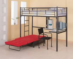 fascinating black metal frame bunk bed under study desk and red