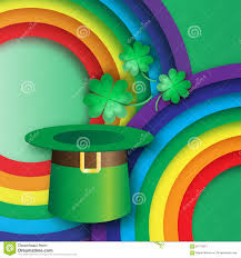 green st patrick u0027s day with hat rainbow and clover stock