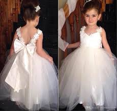 flower girl accessories flower girl dresses 2016 v neck and v back appliques bow