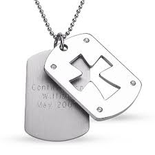 engraved dog tags for men engraved men s stainless steel cross cutout dog tag pendant zales