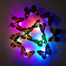 1pc colors changing led butterfly night light decorative 3d wall 2 in 1 colors changing led flashing butterfly night light 3d wall stickers decors