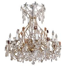 beaded crystal chandelier antique italian crystal and beaded iron 8 light chandelier at 1stdibs