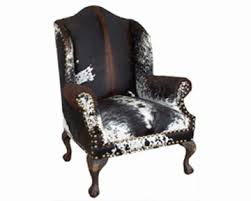 exotic cowhide wingback chair