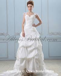 allens bridal taffeta and lace straps chapel train a line