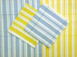 light blue kitchen towels summer picnic tablecloth ticking buttercup yellow or dusky blue