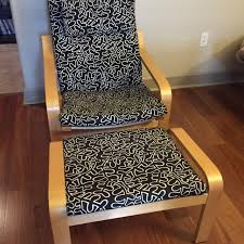 Ikea Poang Ottoman Best Black And White Ikea Poang Chair W Ottoman For Sale In