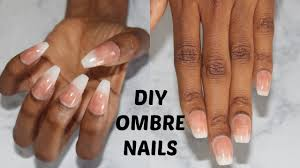 diy easy french nails at home no acrylic ombre coffin nails