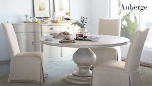furniture 3 parson chairs in cream and round dining table by