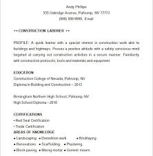 Construction Resume Sample by Prissy Inspiration Construction Resume 13 Construction Resume
