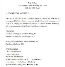 construction resume templates construction laborer resume