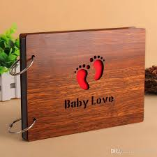personalized album 2018 children gift wood cover albums handmade leaf pasted