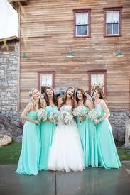 fun bridesmaids pose with tiffany blue bridesmaid dresses bf