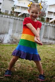 free tutorial for colorful rainbow skittles knit dress