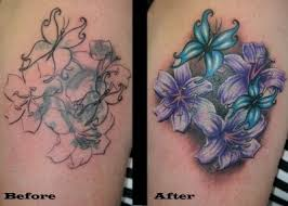 pink orchids flowers blue butterfly cover up watermarked tattoos