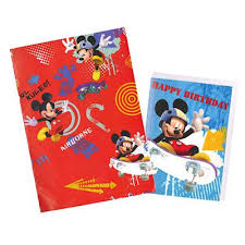 mickey mouse christmas wrapping paper buy mickey mouse wrapping paper birthday card and gift tag pack