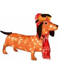 Outdoor Lighted Christmas Decorations On Sale by Deals On Improvements Lighted Tinsel Dachshund With Goggles
