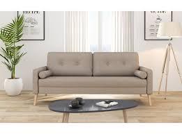 canapé droit 3 places canapé scandinave 3 places en tissu beige zephyr