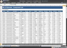 Bom Template Excel Bill Of Materials Bom Template