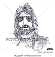 clip art of man with long hair and sunglasses k10035917 search